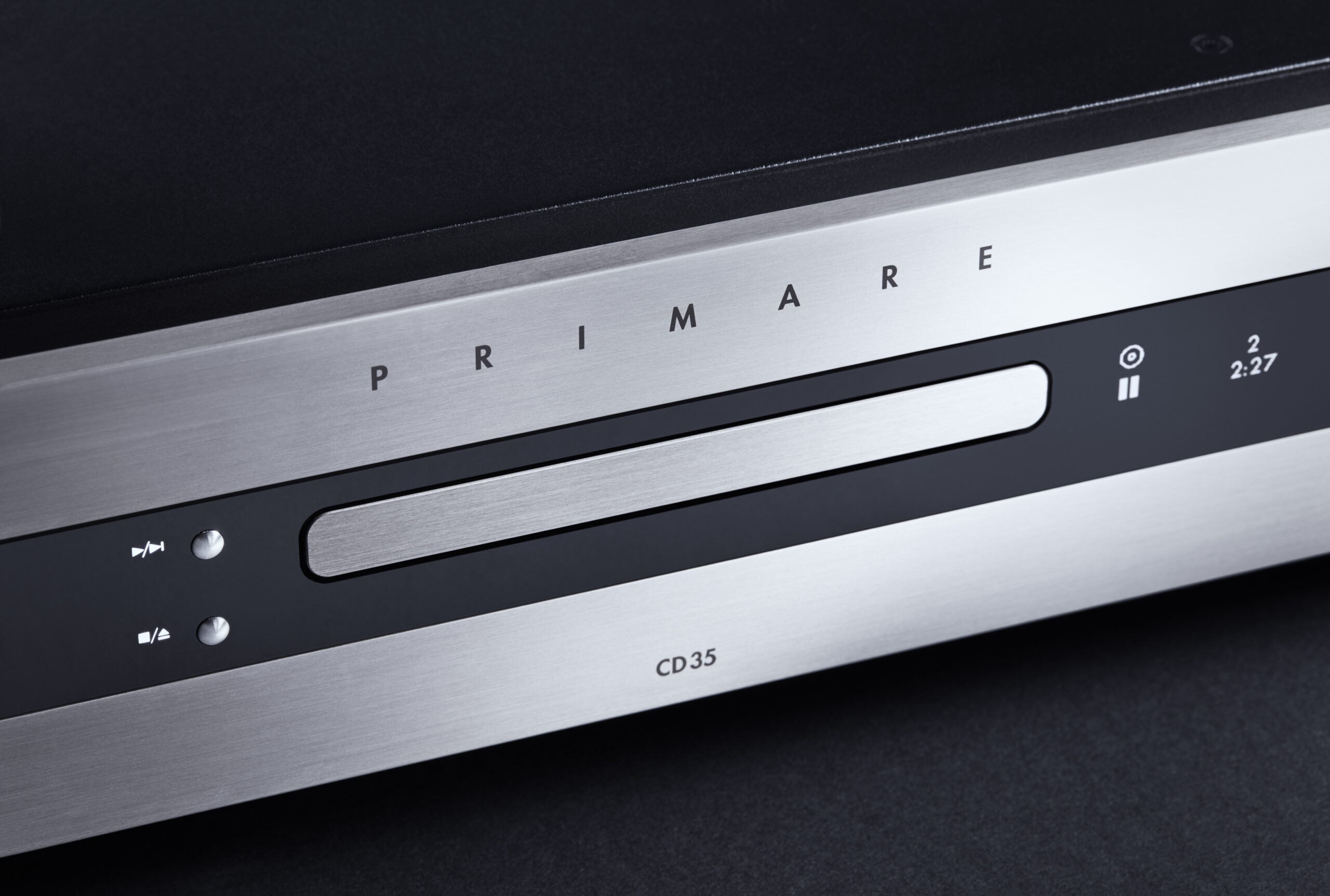 Primare CD35 Prisma CD and network player front titanium close up