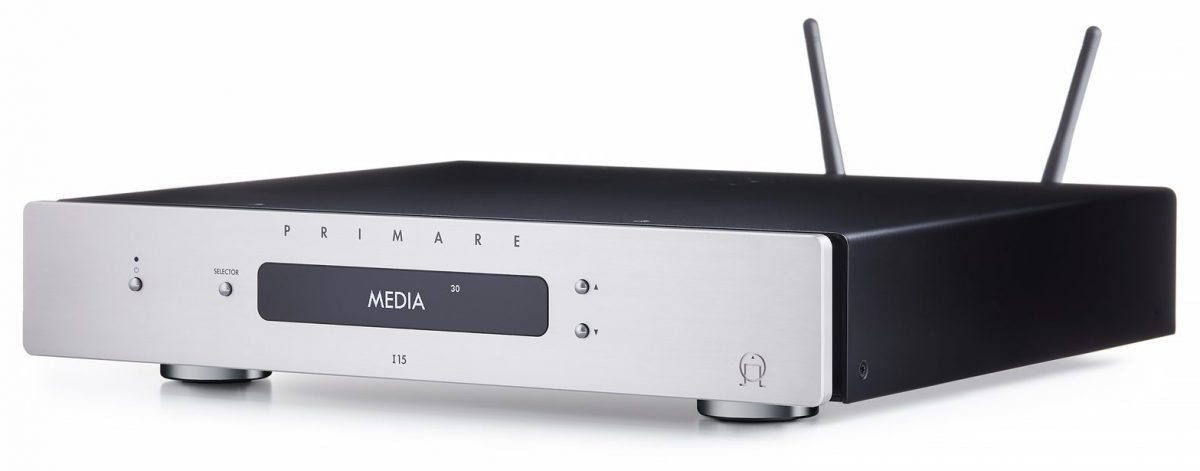 Primare I15 Prisma integrated amplifier and network player angle titanium